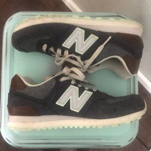 New Balance 574 Classics Blue and Brown Sneaker